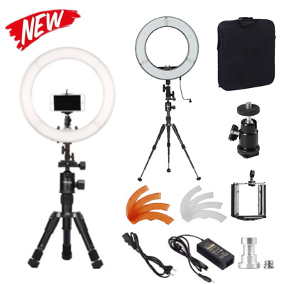 "GS Dimmable 14"" 40W LED Ring Light Mini Desk Tripod Light Stand F Make Up Studio"