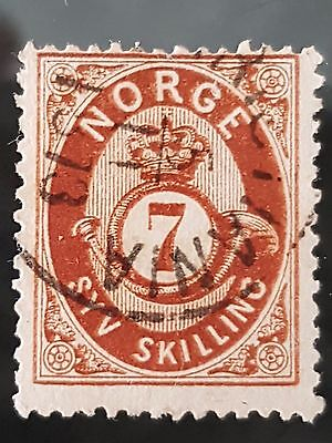 Norway Sg # 45 1872 to 1875 7 Skilling Red Brown Used FU HH Stamp CV £75.00