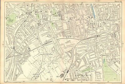 1906 Large Map-Bacon 9 Inch - Camberwell, Peckham, Herne Hill, East Dulwich