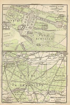 1907  Antique Map-Paris-Chateau, Park And Forest  Of Chantilly
