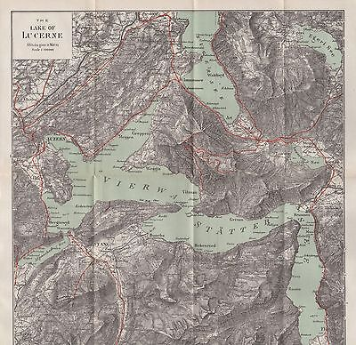 1903 Antique Map- Switzerland-The Lake Of Lucerne