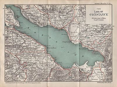 1903 Antique Map- Switzerland-The Lake Of Constance (Boden See)