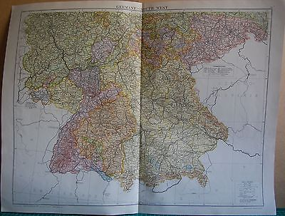 1919 Large Map- Europe-Germany South West