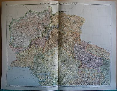 1919 Large Map- North West India With Afghanistan