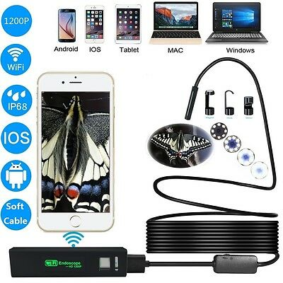 1200P IP68 8 LED Adjustable Lights 8mm Waterproof WiFi Endoscope Camera for PC A
