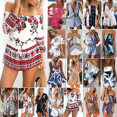Womens Floral Playsuit Shorts Party Jumpsuit Rompers Shorts Trousers Clubwear AU