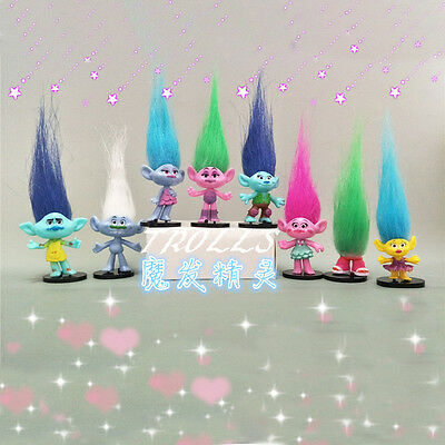 New 8Pcs/set Trolls Action Figures Doll Collectibles Toy Kid Girl Birthday Gifts