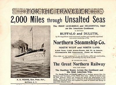 1895 Northern Steamship Co. Ad-Unsalted Seas