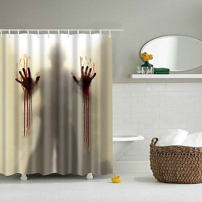 Halloween Horror Psycho Bloody Hands Bathroom Bath Shower Curtain Decoration