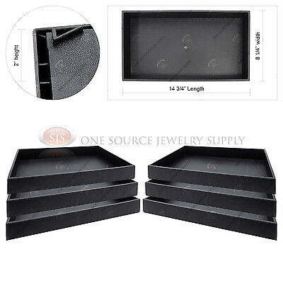 "6 Piece 2"" Deep Black Plastic Display Tray Jewelry Storage Stackable Organizers"