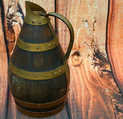 RARE Old French antique brass and wooden oak Wine/cider Jug pitcher