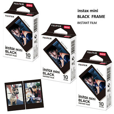 Fujifilm Instax BLACK Frame Film 30 Sheets - Fuji Mini 7s 8 9 70 90 Camera SP-2