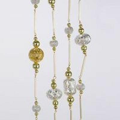 New Kurt Adler 6' silver/Gold Metal Beads Garland
