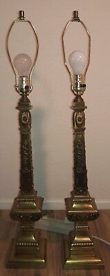 Mid Century Hollywood Regency heavy brass Neoclassical table lamps~No shades!