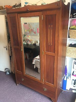 Rare Large Arts and Craft Movement Antique Mahogany Mirrored Double Wardrobe
