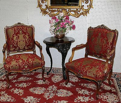 Antique Country French Pair Louis XV Fauteuil Walnut Gold Arm Chairs Circa 1860