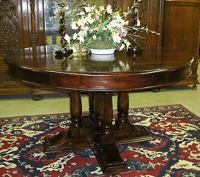 """Antique Style Country French 54"""" Round Hardwood Dining Room Table"""