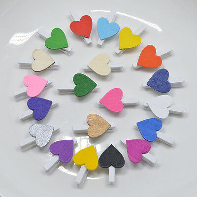 30mm - WHITE WOODEN CRAFT PEGS WITH COLOURED HEARTS - 21 COLOURS TO CHOOSE FROM