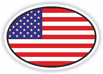 USA United States of America Flag oval STICKER bumper decal car helmet laptop