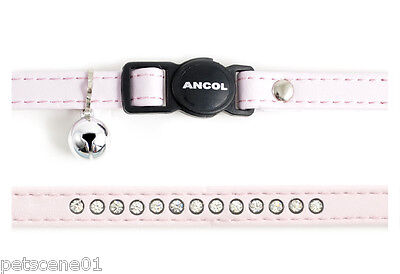 Ancol cat safety collar Pale Pink Jewel Leather look with bell