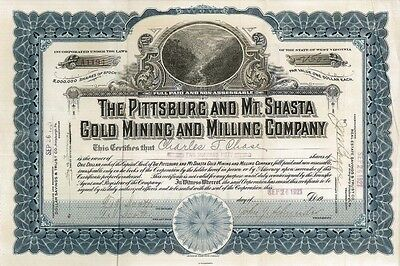 The Pittsburg and Mt Shasta Gold Mining and Milling > 1921 old stock certificate