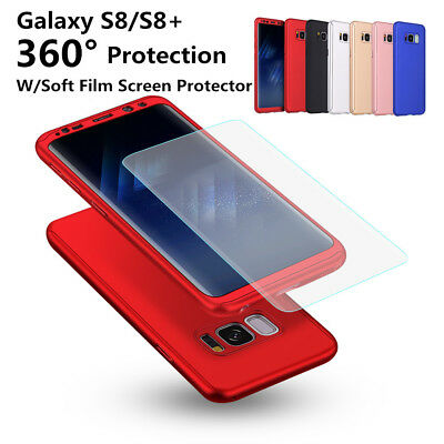 For Samsung Galaxy S9 S8 Plus 360° Full Body Hard Case Cover+Screen Protector