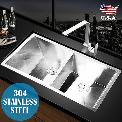 "30""x18""x9"" Double Bowl Undermount 304 Stainless Steel Kitchen Sink 18 Gauge New"