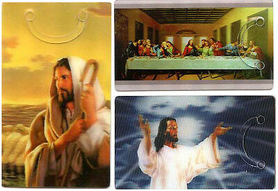 3 Bookmarks - 3D Lenticular Jesus - Religious Clip on