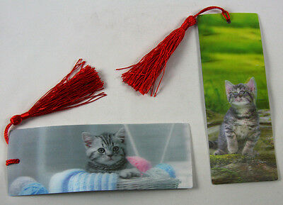 2 Bookmarks - 3D Lenticular - Cats - adorable kittens with red tassle
