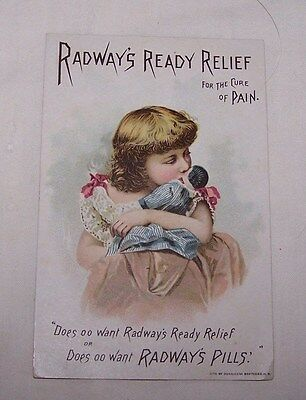 1800's Trade Card-Radway's Ready Relief-Cure-Remedy-Medicine-New York-Girl-Doll