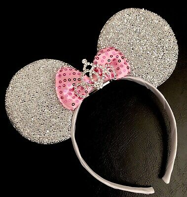 NEW Minnie Mouse Princess Tiara Crown Headband Sparkly Silver Ears Pink Bow Cute