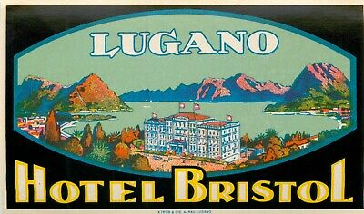 Kulm Hotel ~ST. MORITZ - SWITZERLAND~ Beautiful & Risque Luggage Label, c. 1930