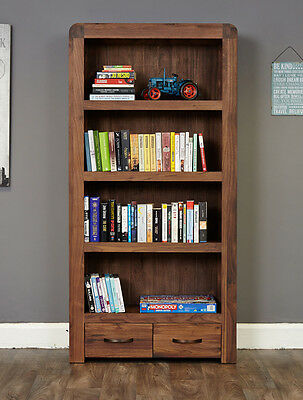 Baumhaus Shiro Walnut Large 2 Drawer Bookcase - Solid Walnut - Free Delivery