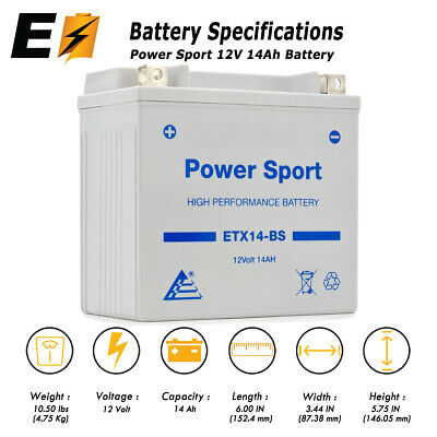 YTX14-BS Replacement Battery - Honda TRX 500 420 450 350 Rubicon Foreman Rancher