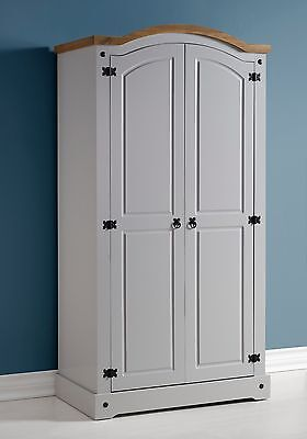 Seconique Corona 2 Door Wardrobe in Grey/Distressed Waxed Pine - Free Delivery