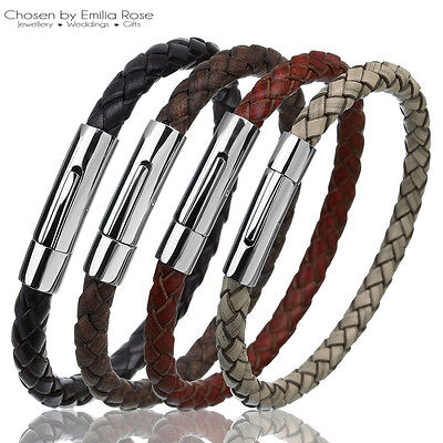 Mens Braided Leather Wristband Bracelets Bangle Stainless Steel Magnetic Clasp