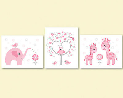 3 prints art for baby girl nursery, room - pink elephant, owl and tree, giraffes