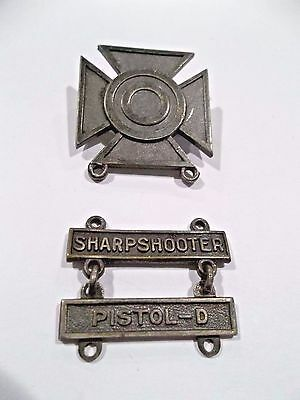 WWII US Army Sterling Silver Sharpshooter Pin with Sharpshooter  & Pistol-D Bars