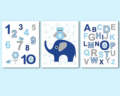 3 prints, art for boys room, nursery decor - alphabet, numbers, elephant, owl