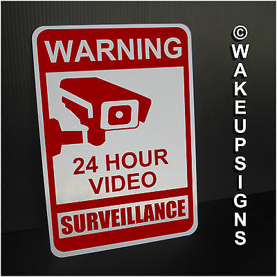 """Warning For Premises Video Surveillance Sign Aluminum 7"""" By 10"""" Outdoor Metal"""