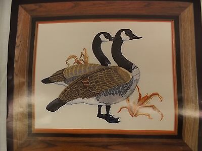 Vtg Punch Embroidery 16x20 Canadian Geese Printed Pattern Fabric & Instructions