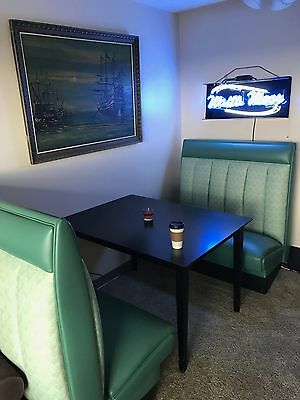 Comfortable & Cool Green Diner Booth Set -great Seats 4 a man cave. NO RESERVE!