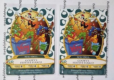 2 GOOFY Mickeys Very Merry Christmas Party Cards Sorcerers Of Magic Kingdom 10P