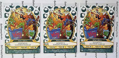 3 GOOFY Sorcerers Of Magic Kingdom Mickeys Very Merry Christmas Party Cards 10P