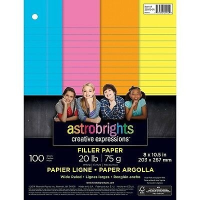 "Astrobrights Color Paper, Wide Ruled, 3-Hole, 8"" x 10.5"", 4-Color, 100 Sheets"