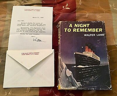 Titanic White Star Line Walter Lord Autograph Signed Letter A Night To Remember
