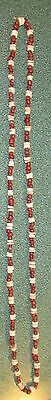 Early Indian Artifacts 255 Indian Red Glass Shell Beaded Necklace California