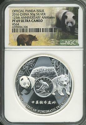 China 50g Silver 2016 Official 125th Anniversary ANAheim NGC PFUC 69 W/Cert