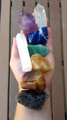 GemFarmer CS1: Large Chakra Stones Set: 7 Rough Crystals & Raw Selenite Stick