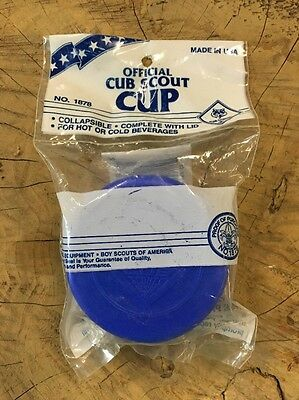 Vintage CUB SCOUT Collapsible Plastic Cup & Lid New Old Stock OFFICIAL BSA USA